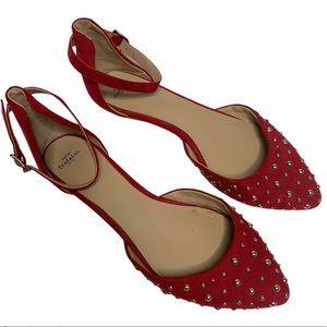 Zara Trafaluc Studded Red Ankle Strap Flats